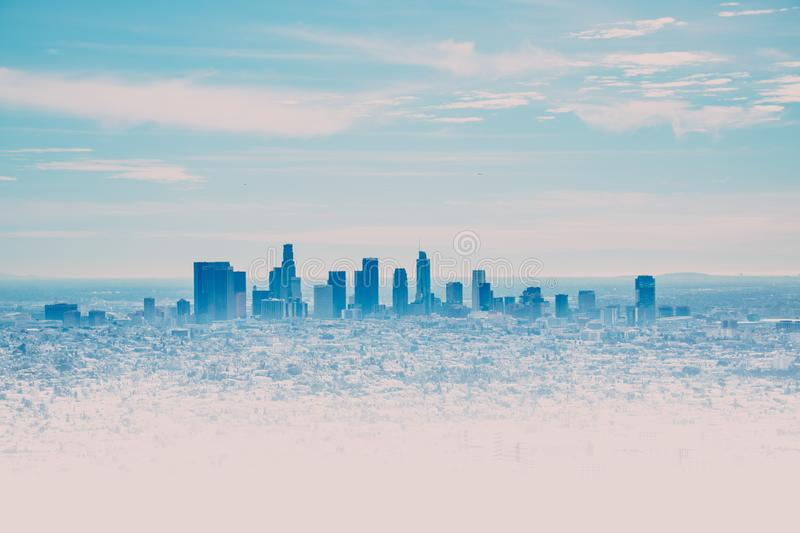 Los Angeles Skyline with its skyscrappers from the Hollywood Hills, California, USA royalty free stock images