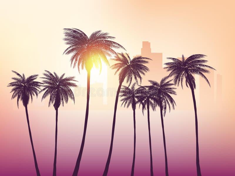 Los Angeles-Skyline mit Palmen im Vordergrund lizenzfreie stockfotografie