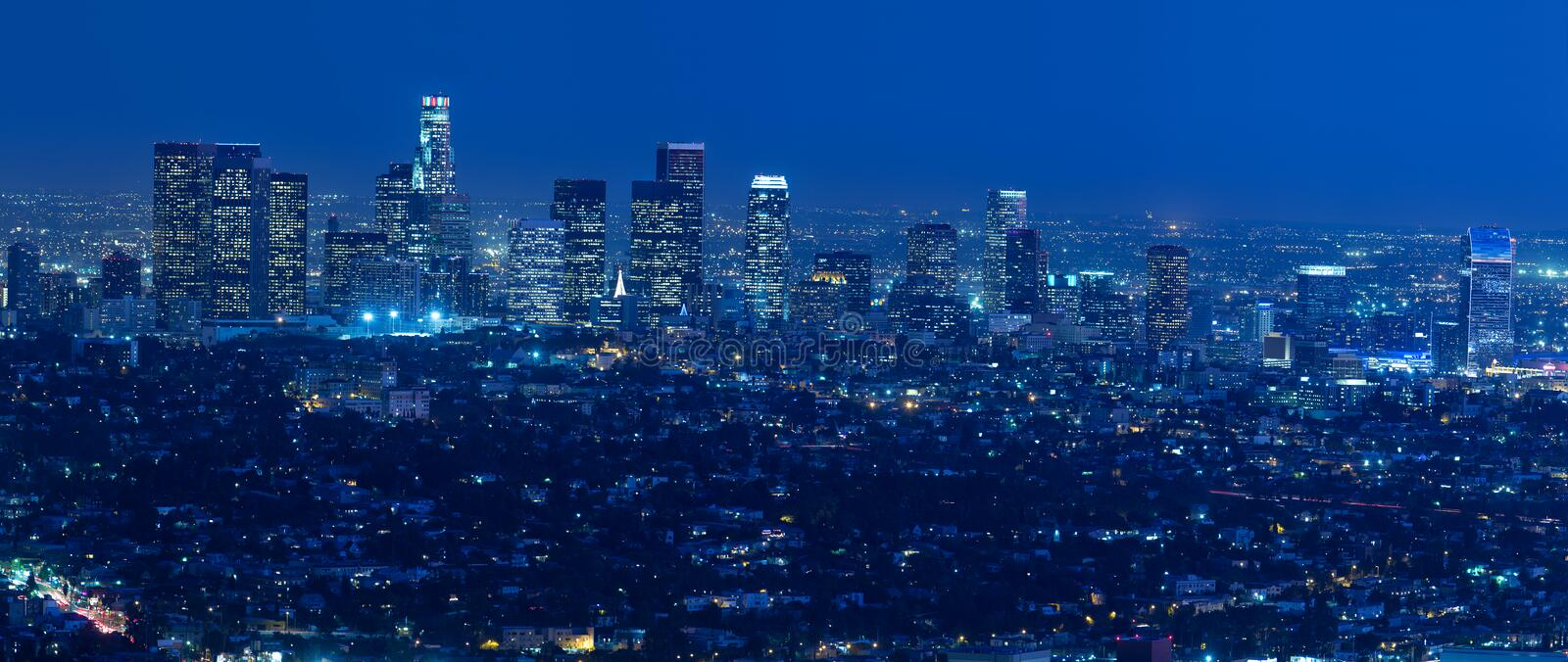 Download Los Angeles Skyline At Night Stock Image - Image: 25192135
