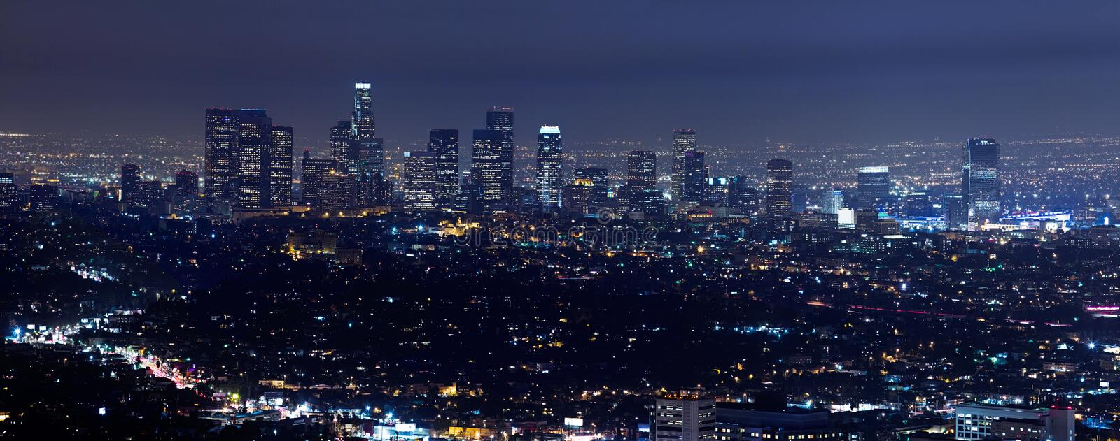 Los Angeles Skyline At Night. High rises of Los Angeles downtown area at night stock photos