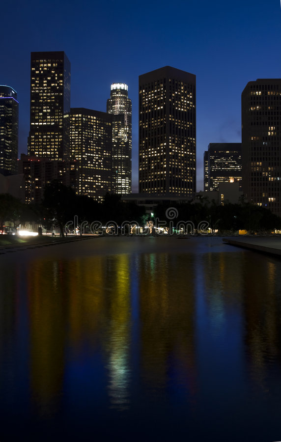 Los Angeles Skyline at Night. With buildings reflected in reflecting pool royalty free stock images