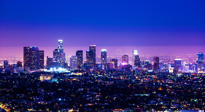 Los Angeles skyline. Skyline at night of Buildings in business district of Los Angeles Downtown California stock images