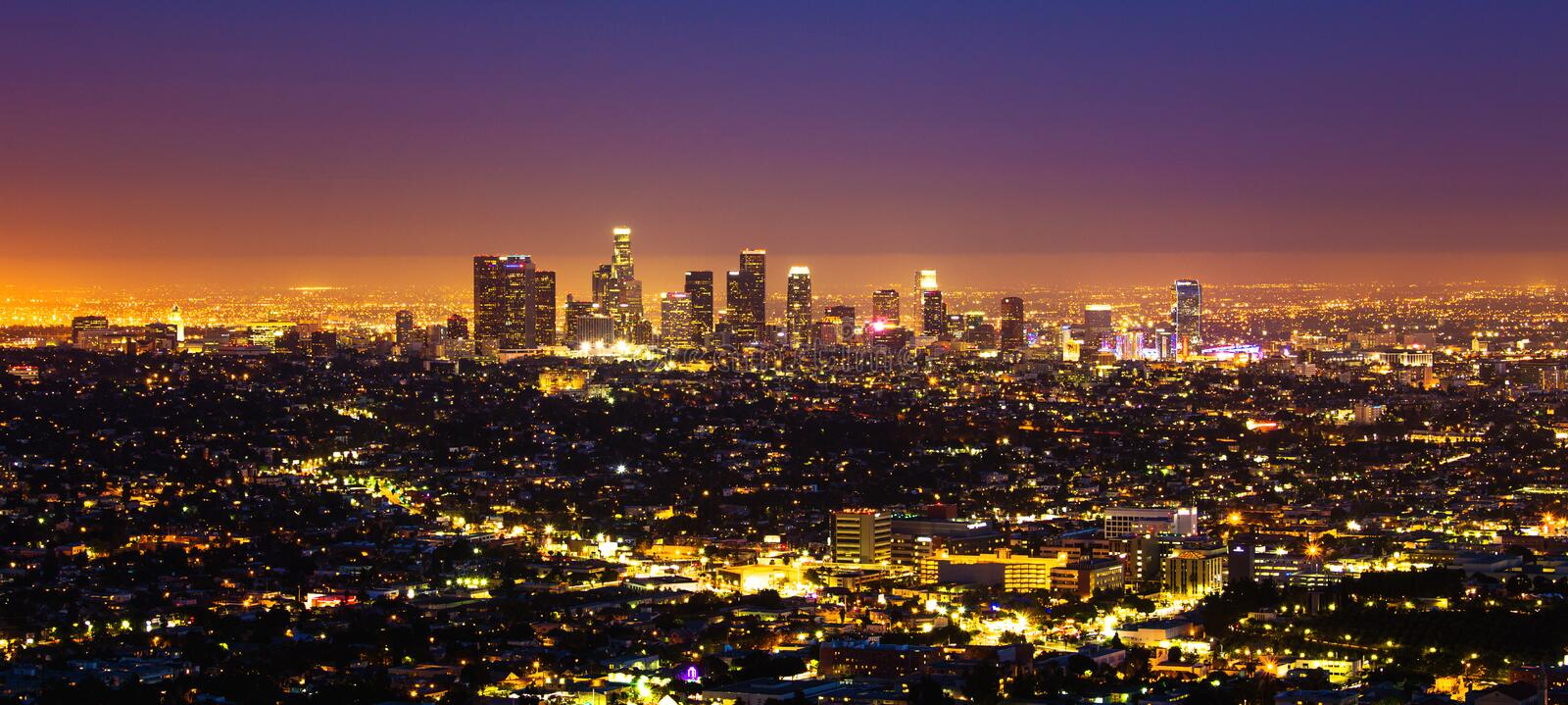 Los Angeles skyline. Skyline at night of Buildings in business district of Los Angeles Downtown California stock image