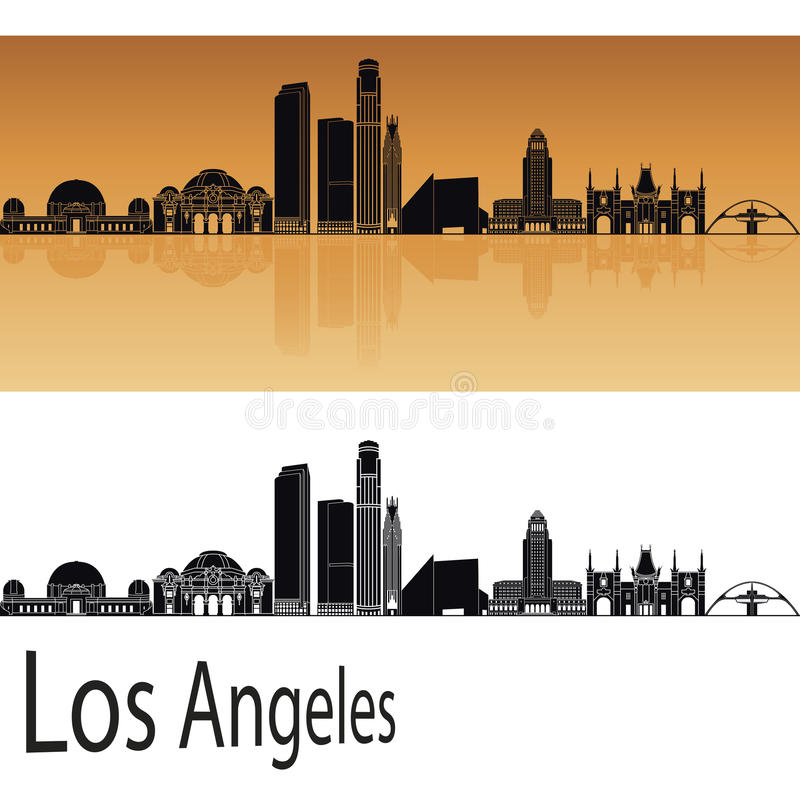 Los Angeles skyline in orange. Background in editable vector file stock illustration