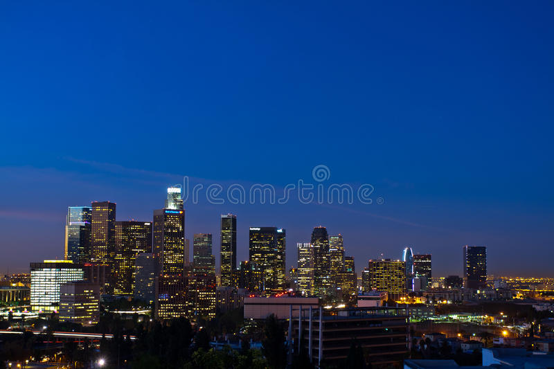 Los Angeles Skyline Shortly Before Dawn Editorial Image