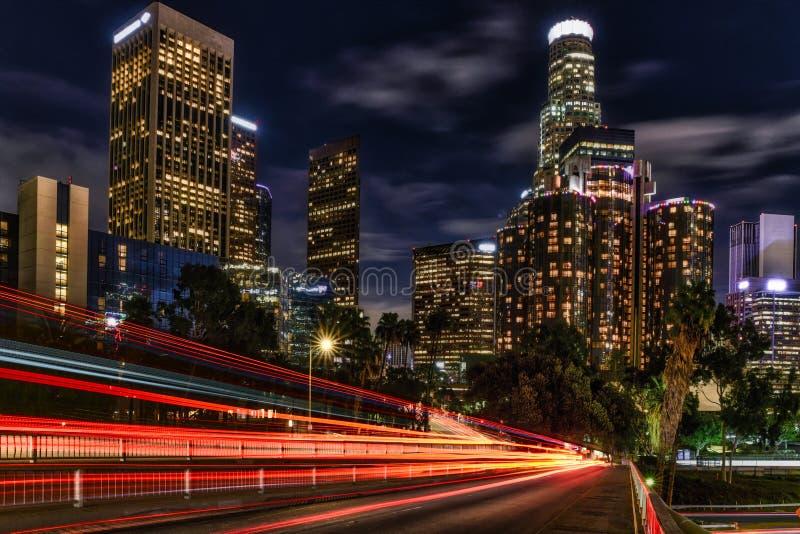 Los Angeles Skyline traffic light trails. Los Angeles Skyline with traffic light trails stock image