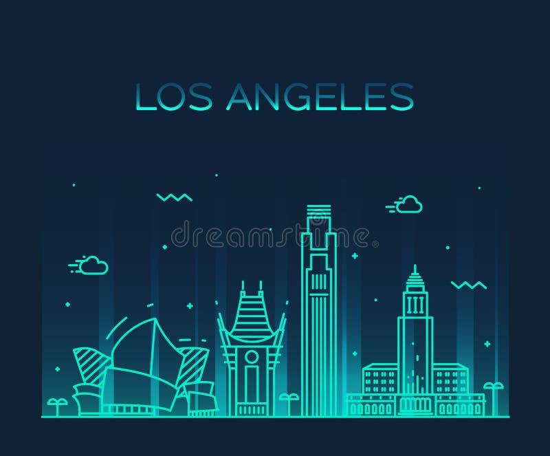 Los Angeles skyline vector illustration linear vector illustration