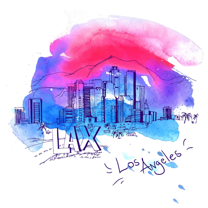 Los Angeles Skyline. Watercolor style with text illustration vector illustration