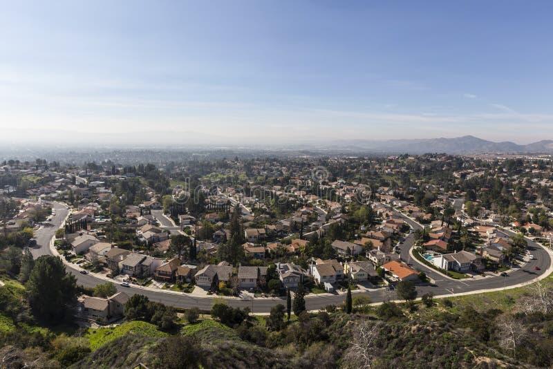 Los Angeles-Smog Porter Ranch Streets lizenzfreies stockbild