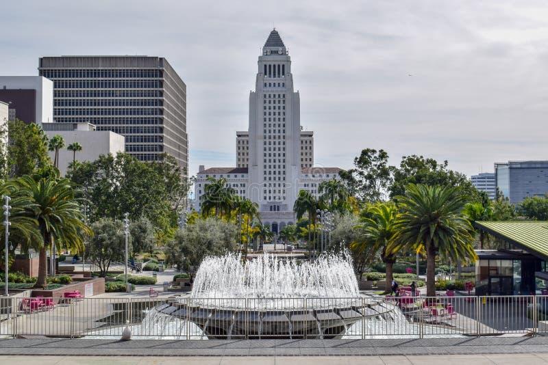 Los Angeles stadshus och Plaza royaltyfri fotografi