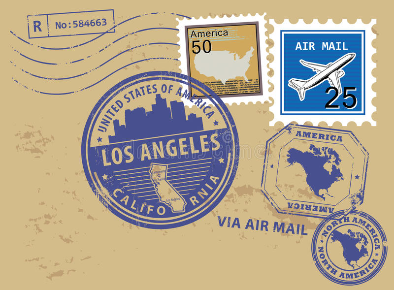 Los Angeles stamp. Grunge rubber stamp set with name of California, Los Angeles royalty free illustration