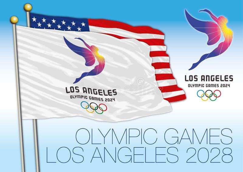LOS ANGELES, STANY ZJEDNOCZONE AMERYKA - Sierpień 2028, lato olimpiady 2028 flaga i logo z USA, zaznaczamy ilustracji