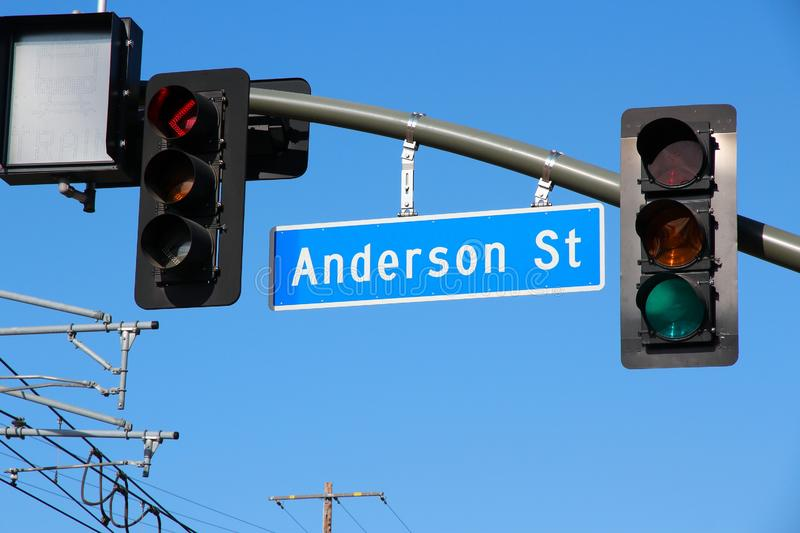 Los Angeles street. Sign in California - Anderson Street stock photography