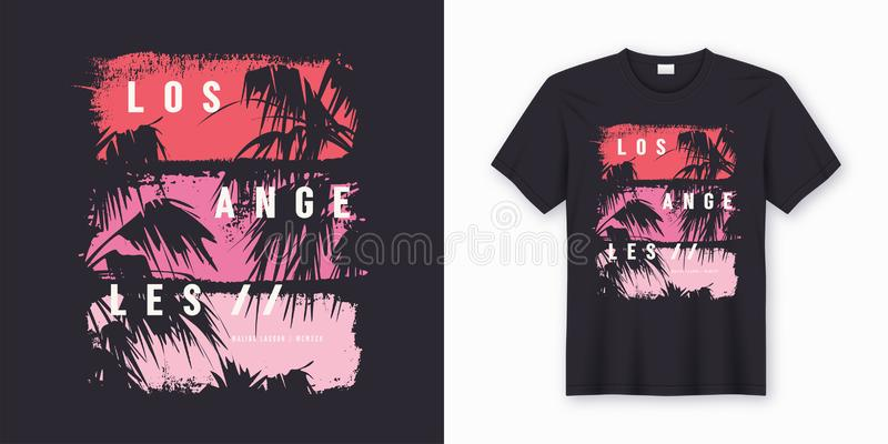 Los Angeles stylish t-shirt and apparel trendy design. Los Angeles Malibu Lagoon stylish t-shirt and apparel trendy design with palm trees silhouettes stock illustration