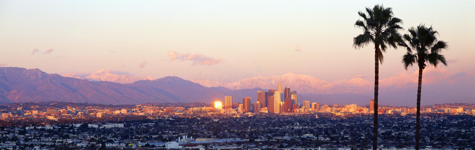 Downtown La Los Angeles Skyline California From 110 Fwy Stock Photo