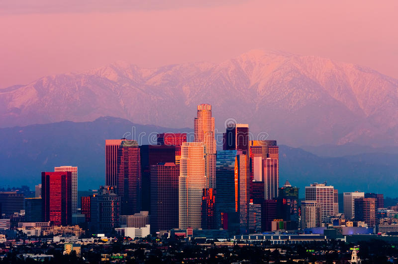 Los Angeles at sunset stock photo