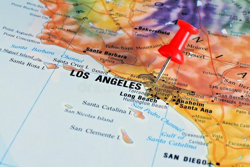 Los Angeles sur la carte photos libres de droits
