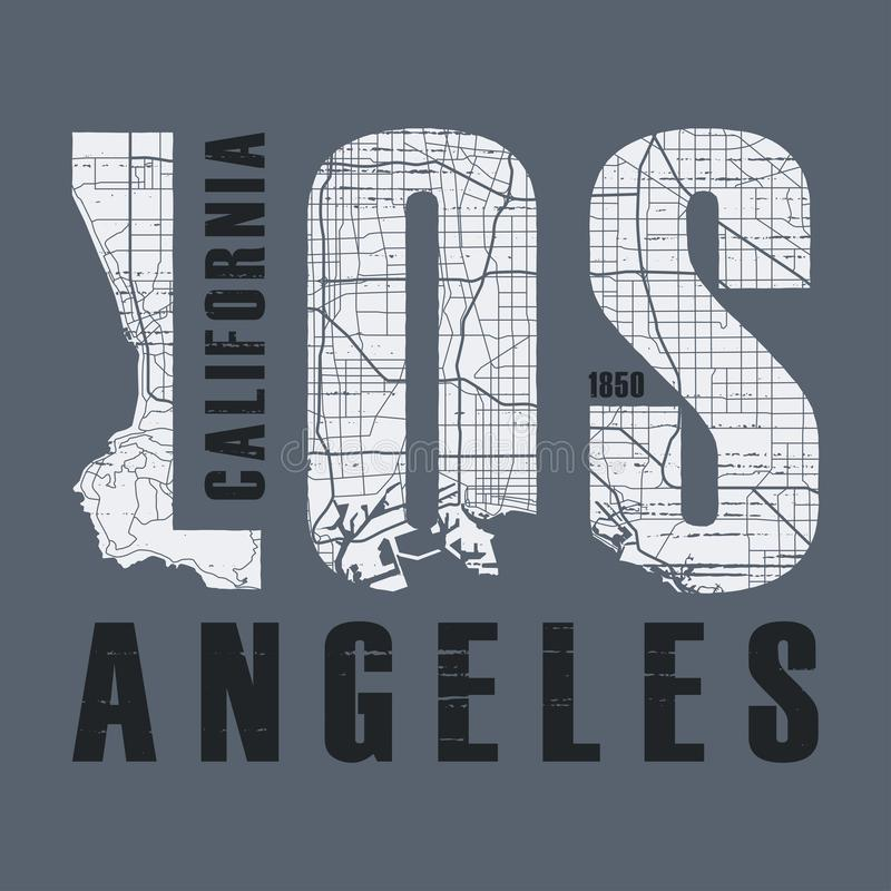 Los Angeles t-shirt and apparel vector design, print, typography. Poster, emblem vector illustration