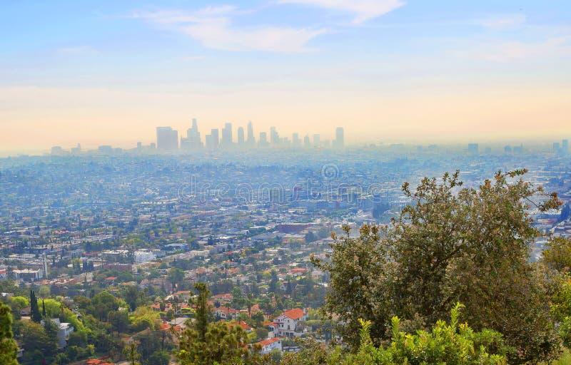 Los Angeles U.S.A. Vista di Los Angeles dalla piattaforma di osservazione di Griffith Observatory fotografia stock