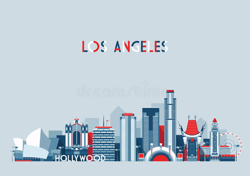 Los Angeles United States City Skyline Flat vector illustration
