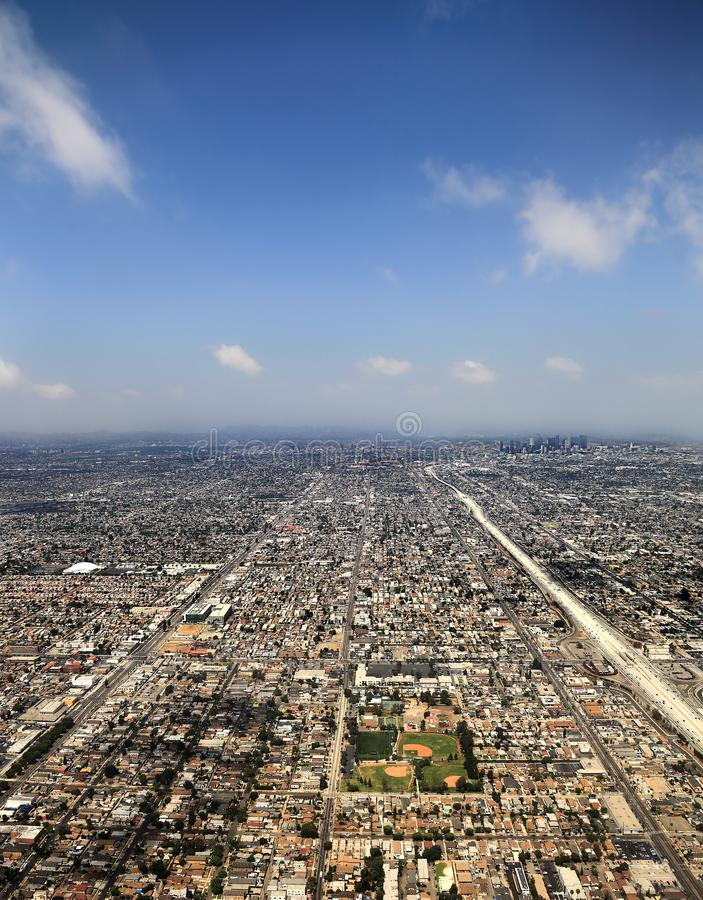 Los Angeles, USA. Aerial view of the city of Los Angeles royalty free stock image
