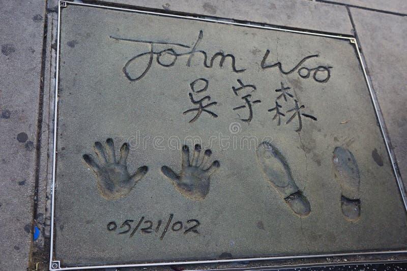 Los Angeles USA, 2016:02: 24 handprint och fotspår John Woo royaltyfria bilder