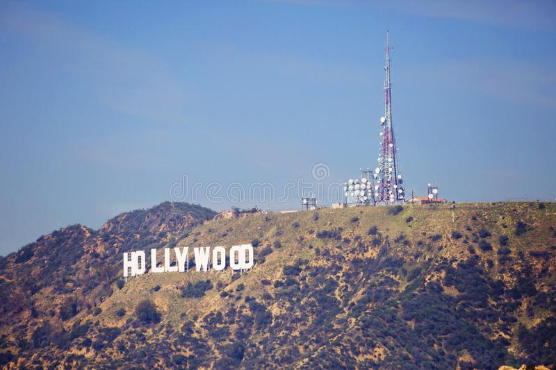 Los Angeles, USA, 2016:02:26 Hollywood Sign on hill in Los Angeles. royalty free stock image
