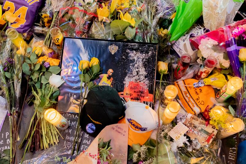Kobe Bryant Memorial at L.A. Live stock photography