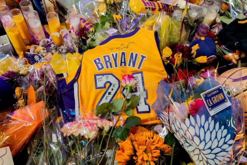 Kobe Bryant Memorial at L.A. Live royalty free stock images
