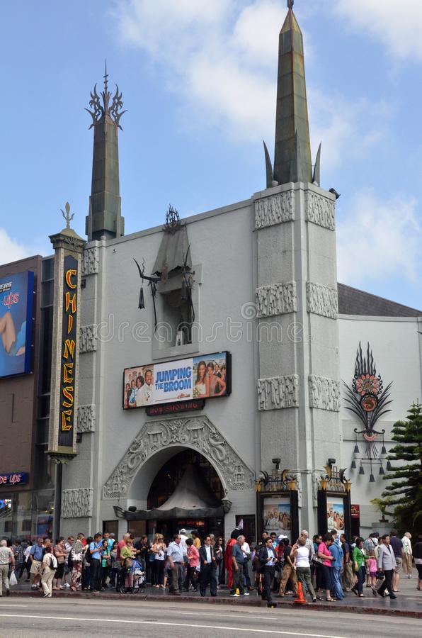 TLC Chinese Theater`s entrance full of tourists in Los Angeles, USA. LOS ANGELES, USA- JULY 2019: TLC Chinese Theater`s entrance full of tourists in Los Angeles royalty free stock images