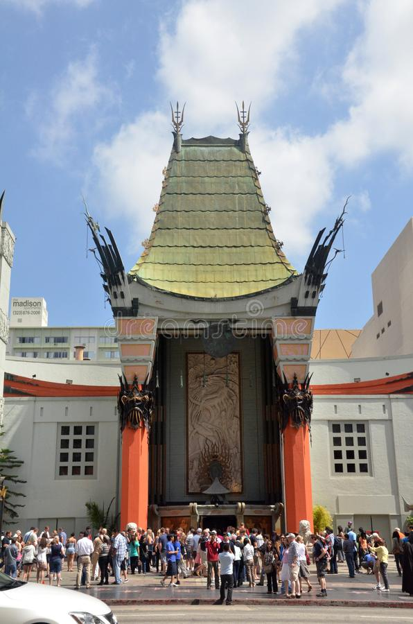 TLC Chinese Theater`s entrance full of tourists in Los Angeles, USA. LOS ANGELES, USA- JULY 2019: TLC Chinese Theater`s entrance full of tourists in Los Angeles royalty free stock photography
