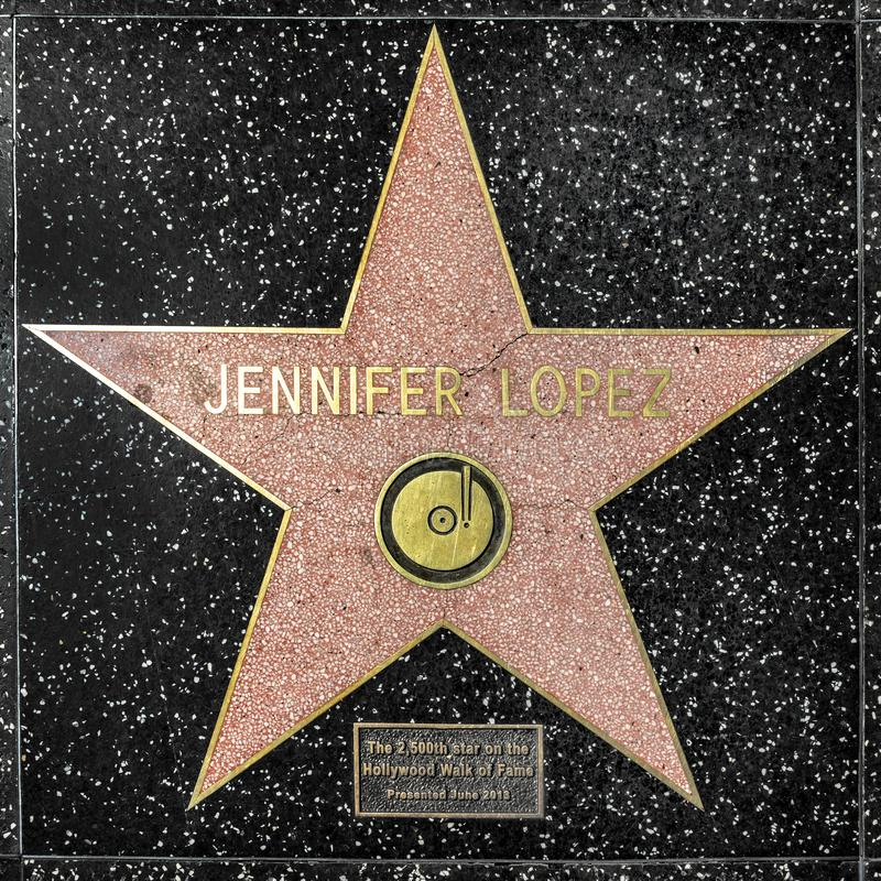 Closeup of Star on the Hollywood Walk of Fame for jennifer lopez. Los Angeles, USA - March 17, 2019: closeup of Star on the Hollywood Walk of Fame for jennifer royalty free stock image