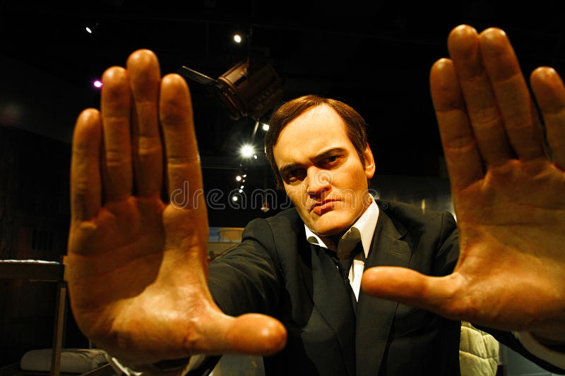 Quentin Tarantino in Madame Tussauds Hollywood. LOS ANGELES, USA - OCTOBER 08, 2015: Quentin Tarantino in Madame Tussauds Hollywood wax museum. Marie Tussaud was stock photography
