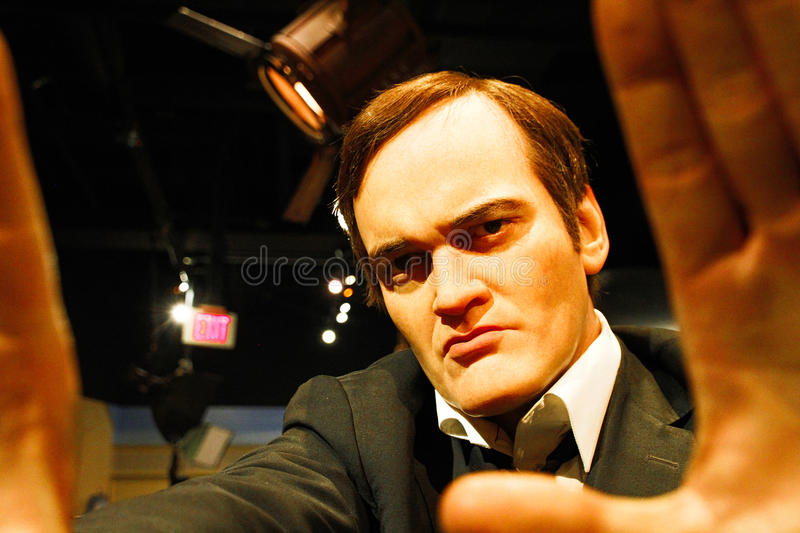 Quentin Tarantino in Madame Tussauds Hollywood. LOS ANGELES, USA - OCTOBER 08, 2015: Quentin Tarantino in Madame Tussauds Hollywood wax museum. Marie Tussaud was royalty free stock images