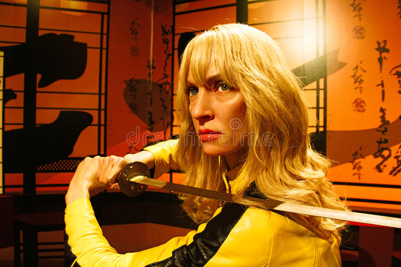 Uma Thurman as the Bride from Kill Bill in Madame Tussauds Hollywood stock photo
