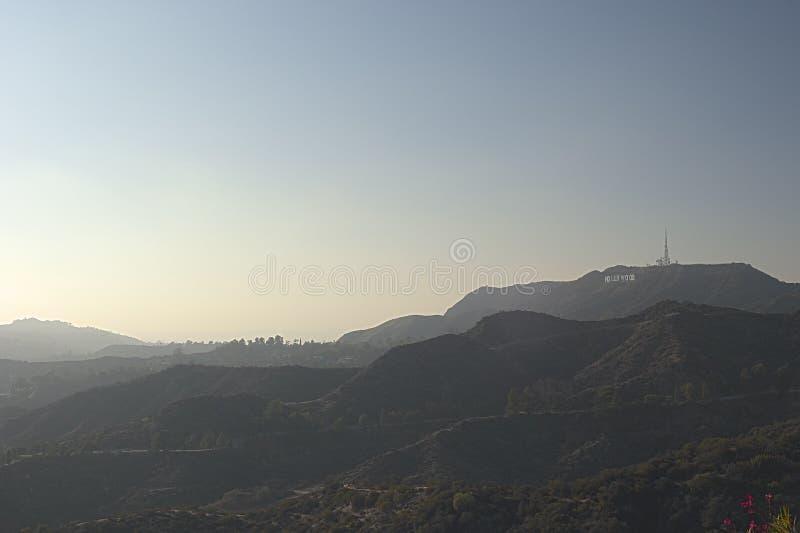 Los Angeles-USA, Oktober, 3: Sikt på den Hollywood kullen i Los Angele royaltyfri bild