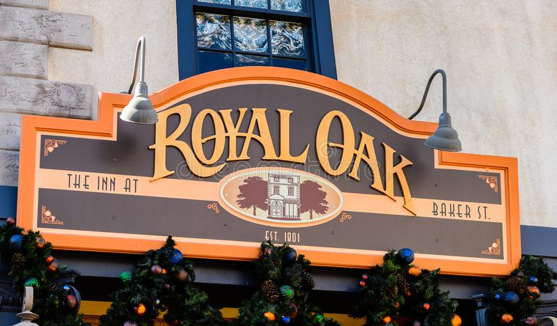 Universal Studios Hollywood Park, Los Angeles, USA. LOS ANGELES, USA - SEP 27, 2015: Royal Oak at the Universal Studios Hollywood Park. Universal Pictures royalty free stock photography