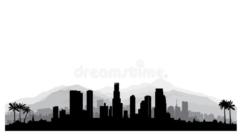 Los Angeles, USA skyline. City silhouette with skyscraper buildings, mountains and palm trees. Famous american cityscape. Los Angeles, USA skyline. City royalty free illustration