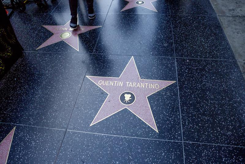 Los Angeles, USA, 2016:02: 24 Sterne auf Hollywood Boulevard Quentin Tarantino lizenzfreies stockbild