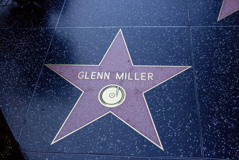 Los Angeles USA, 2016:02: 24 stjärnor på den Hollywood boulevarden Glen Miller arkivbild