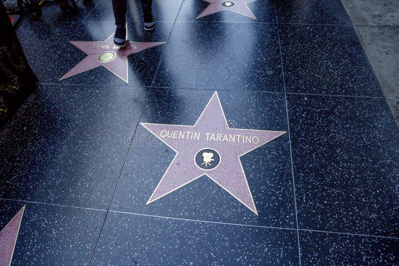 Los Angeles USA, 2016:02: 24 stjärnor på den Hollywood boulevarden Quentin Tarantino royaltyfri bild