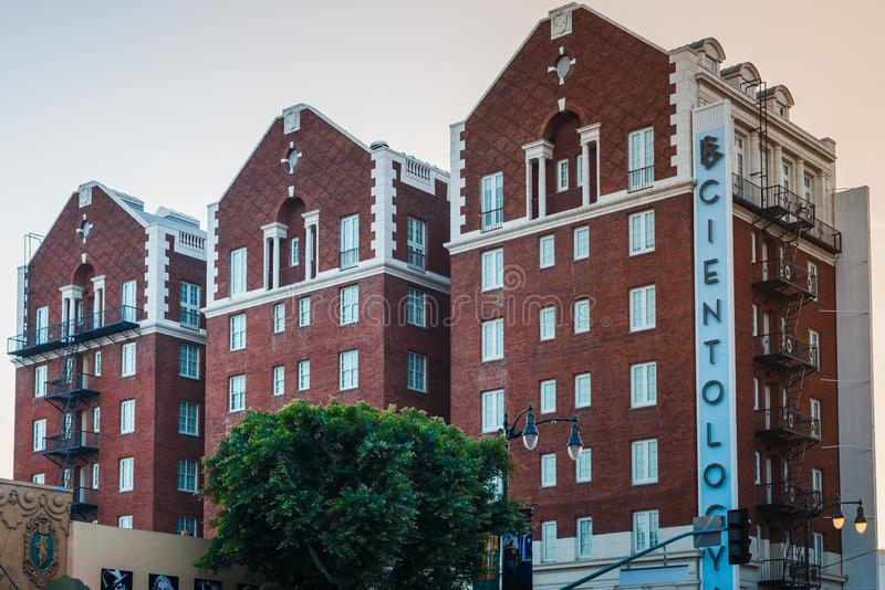 LOS ANGELES, usa - 30TH 2018 PAŹDZIERNIK: Strzał kościół Scientology budynek w Los Angeles, Kalifornia, usa Lato 2018 zdjęcia stock