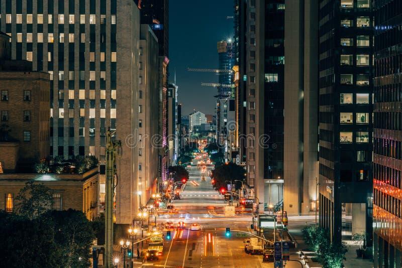 Los Angeles van de binnenstad bij nacht stock foto's
