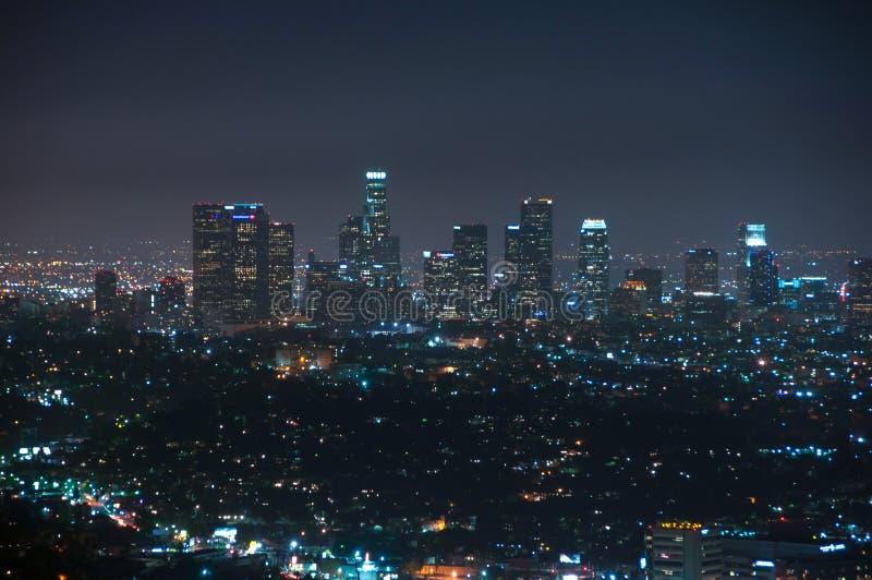 Los Angeles van de binnenstad bij nacht, Californië, de V.S. stock fotografie
