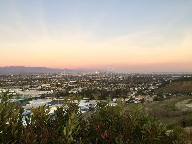 Los Angeles van de binnenstad die van Baldwin Hills wordt gezien royalty-vrije stock foto's