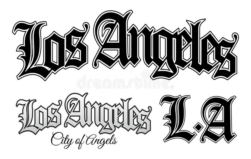 Los Angeles. Vector illustration of Los Angeles and L.A in vintage gangsta style vector illustration