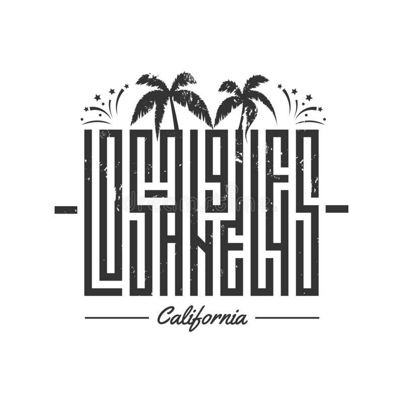 Los Angeles vector lettering for card, tee print design. Typography quote for t-shirts royalty free illustration