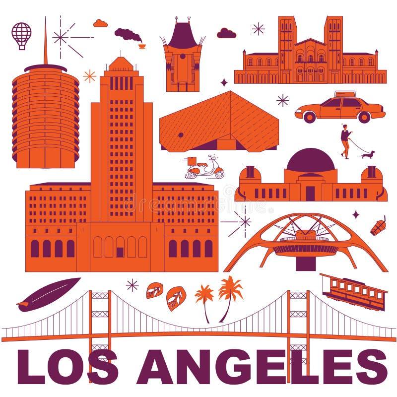 Los Angeles vektorillustration stock illustrationer