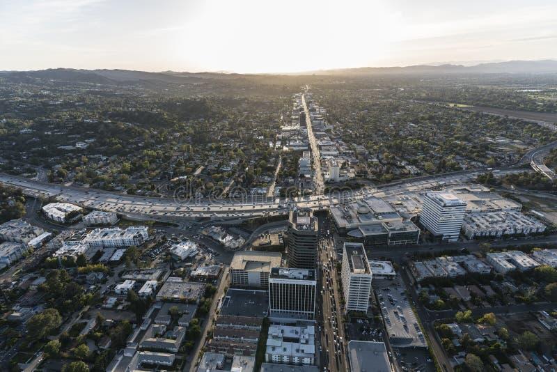 Los Angeles Ventura Bl Sherman Oaks Aerial arkivfoton