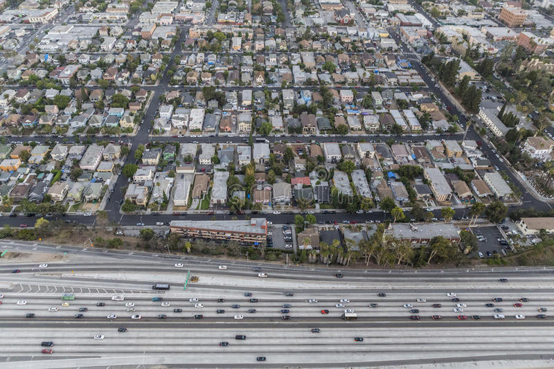 Los Angeles West Adams District Aerial. Los Angeles, California, USA - July 21, 2016: After sunset aerial of the Santa Monica 10 Freeway and West Adams District stock image